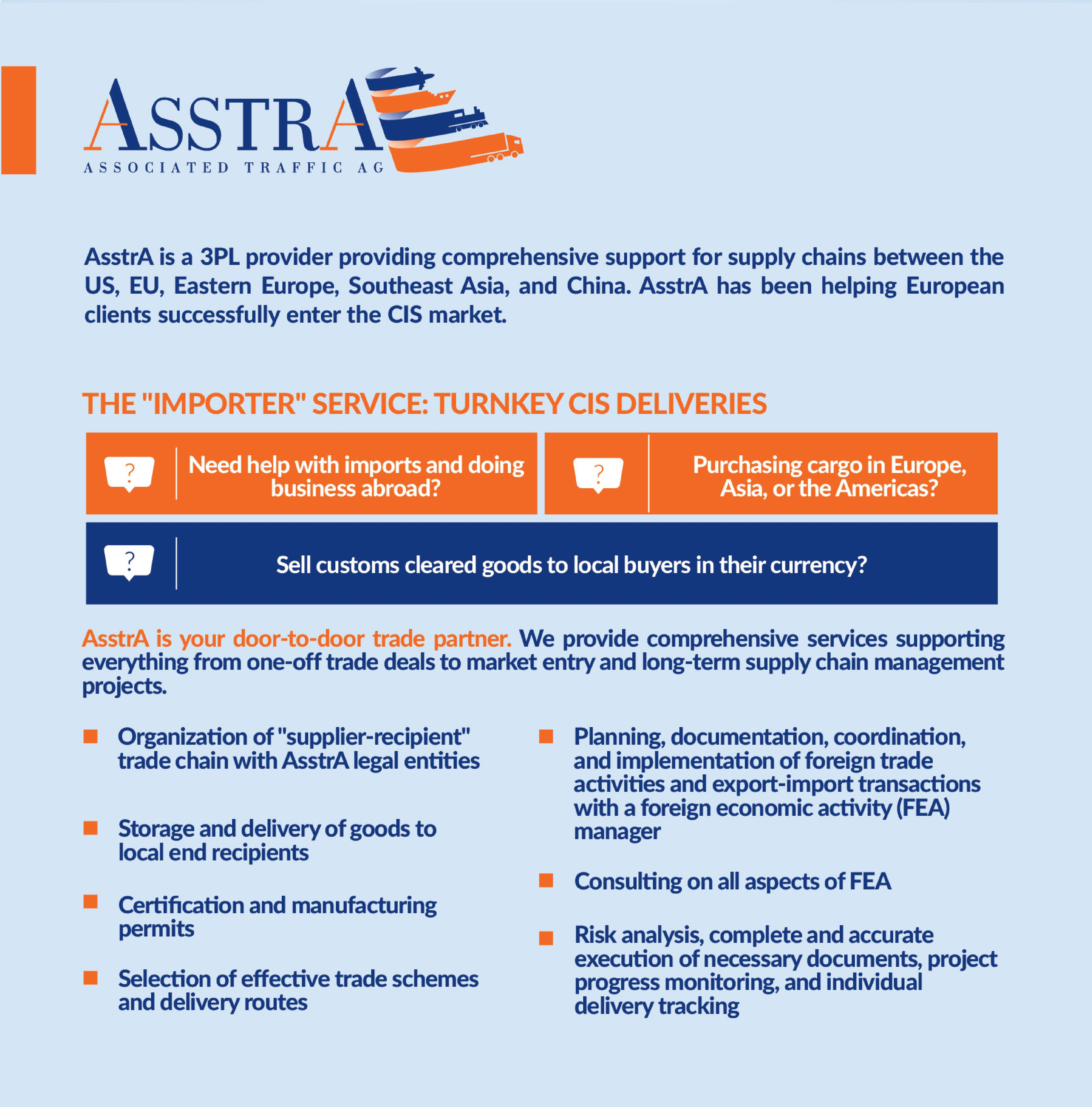 Trade services from the company AsstrA