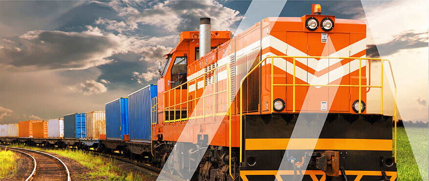 Railway container transportation of goods